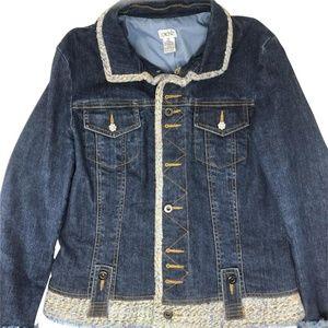 Denim Jacket Rhinestone Buttons Lined Boucle Tweed